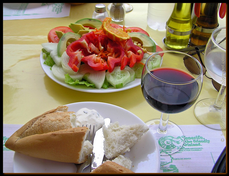 salad, bread, ali oli & wine
