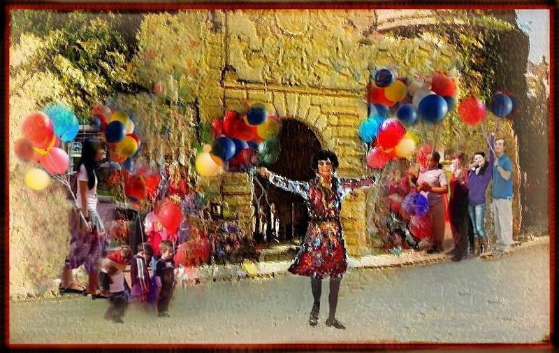 balloons in the Pueblo Español